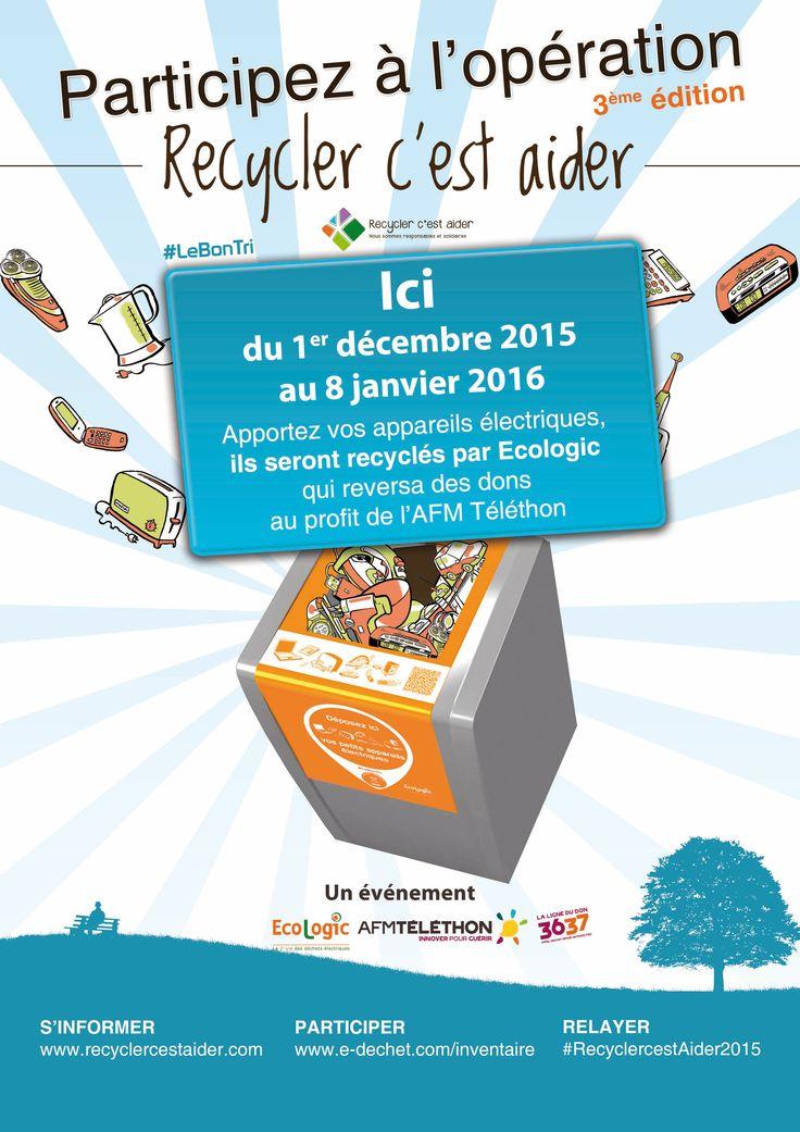 Recycler c'est aider 3e édition. Ecologic collecte les appareils électriques dans les entreprises participantes à l'opération. Ils seront recyclés par Ecologic qui reversera des dons au profit de l'AFM Téléthon.