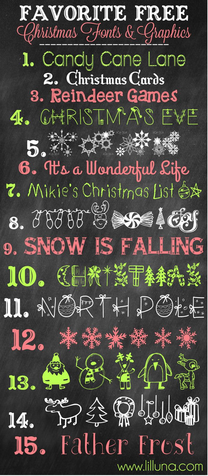Favorite Free Christmas Fonts and Graphics to download and use { lilluna.com }