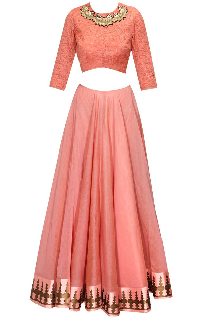 Blush pink printed lehenga set by Jade. Shop now: http://www.perniaspopupshop.com/designers/jade-by-monica-and-karishma #lehenga #jade #shopnow #perniaspopupshop