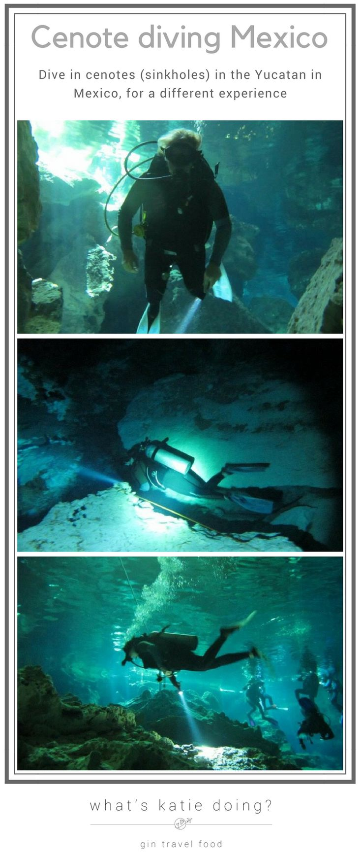 Try something different and dive in a cenote or sinkhole in the Yucatan peninsula in Mexico! #cenote #mexico #yucatan #diving