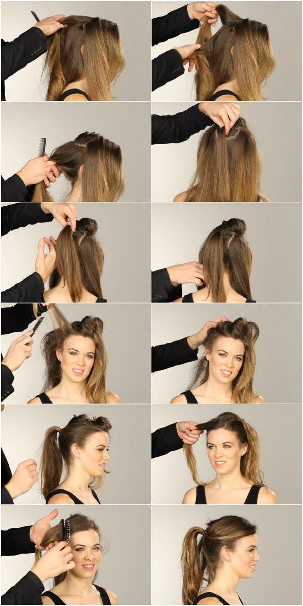 Nicole Richie waterfall ponytail hair tutorial
