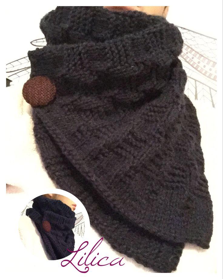 Cuello bufanda masculina en tricot/palillos.    Punto canasta.   By Lilica Creaciones 😍