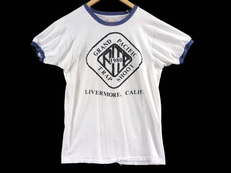 VTG 1980 Grand Pacific Trap Shoot Ringer T-Shirt - Medium Mens - Large Womens - Livermore CA - Ringer Tee - Vintage Tee - Vintage Clothing - by BLACKMAGIKA on Etsy