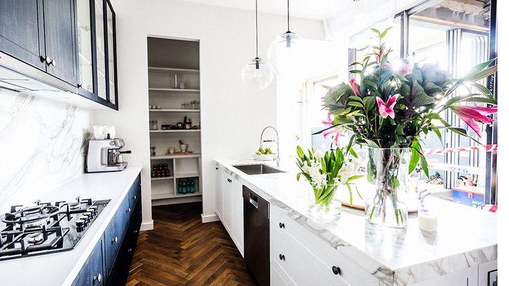 Kitchen - Herringbone parquetry flooring at The Block