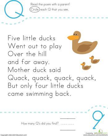 Worksheets: Find the Letter Q: Five Little Ducks.  Includes lyrics and letter practice.