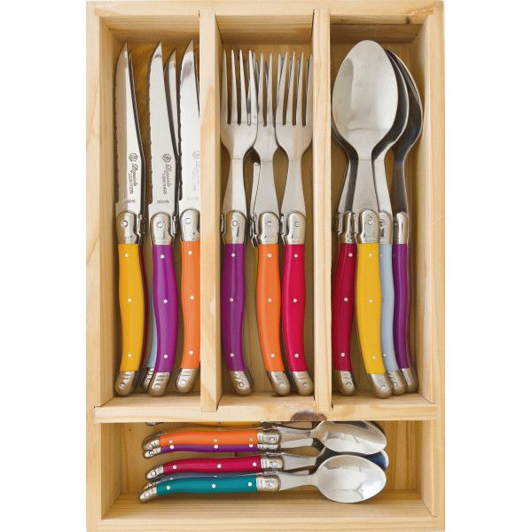 Laguiole by Louis Thiers 24-piece cutlery set with multi-coloured handles