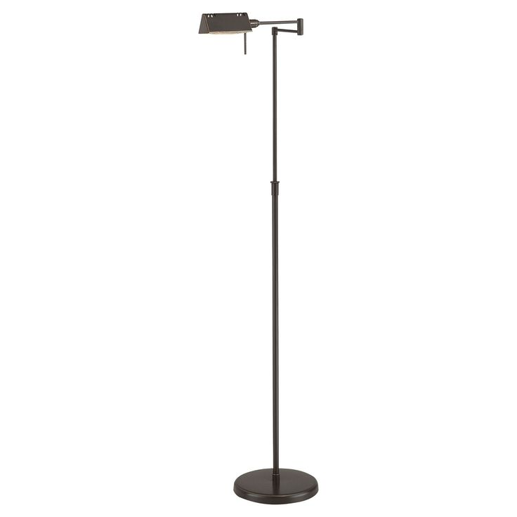 Finally get lighting right with the Lite Source Pharma Floor Lamp in Dark Bronze. This versatile floor lamp works well with all types of decor. From modern industrial, to cool contemporary, to classically neutral, to transitional—this lamp shines a light on style. Featuring adjustable height, a movable bridge arm, and swiveling lamp head, it's easy to get the right light. A halogen bulb brings the shine, and the dimmer switch allows for a variety of settings. Everyone loves ligh...