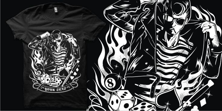 """""""Dress Up Greaser"""" t-shirt design by plaju"""
