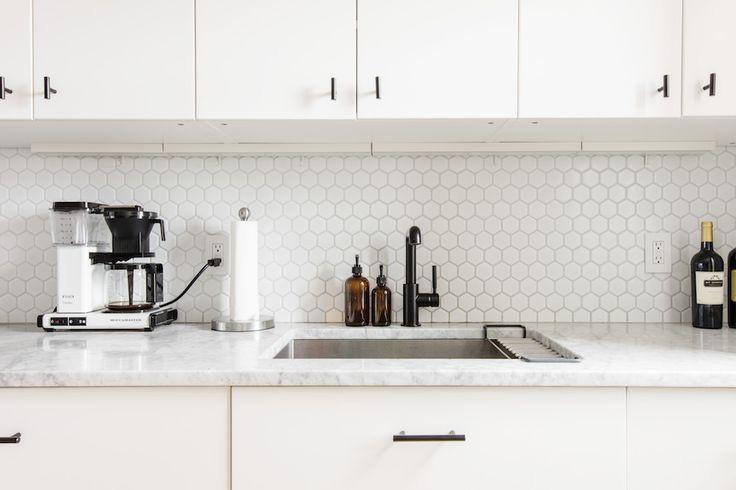 white honeycomb backsplash tile