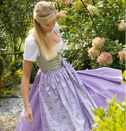 Pale sage and girly lilac team up in this lovely dirndl by Susanne Spatt. #dirndl #dress #folk #costume #German #clothing #purple