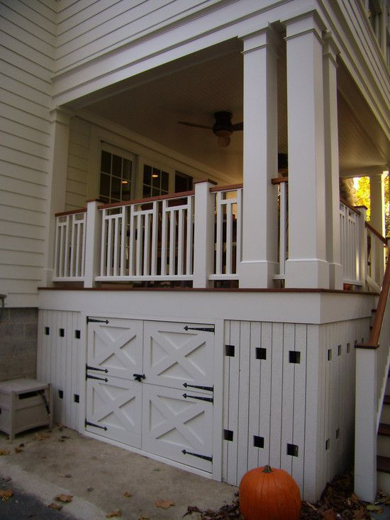 maybe storage under the deck makes more sense accessed from the upper patio  (install some outdoor LED lighting under there)