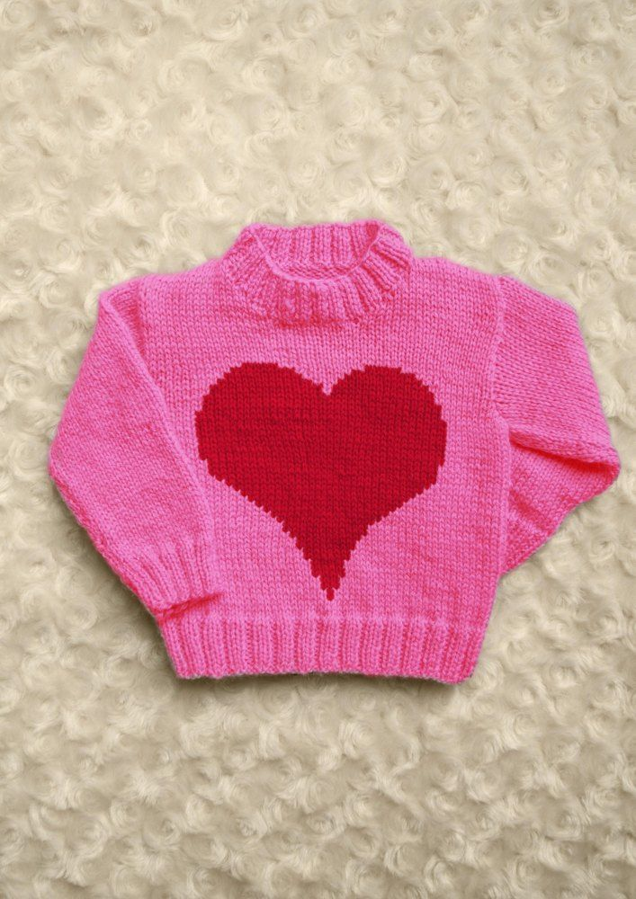 247e4cedd Intarsia - Big Heart Chart - Childrens Sweater Knitting pattern by ...