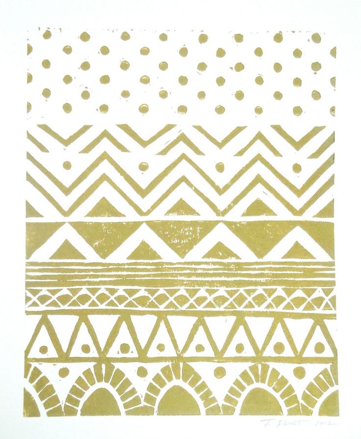 Hand-pulled Linocut - Gold Geometric Tribal Block Print