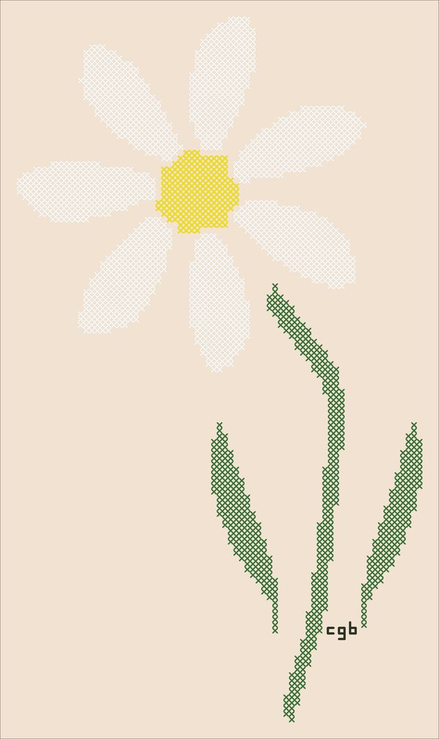 Marions's Daisy and Rose Free Cross Stitch Patterns: Marions's Daisy Free Cross Stitch Pattern