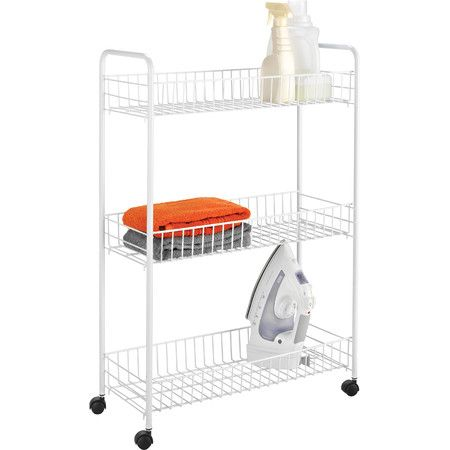 Honey Can Do 3-tiers laundry cart. A great space-saving organizer for any room, this rolling cart is takes up minimal floor space. Basket style shelves ar...
