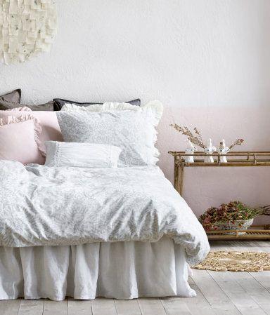 Sängkappa i tvättat linne   Vit   Home   H&M SE