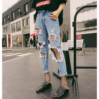Thoshine 2017 Spring Summer Autumn Women Ripped Hole Jeans Female Vintage Denim Pants Lady Ankle Length Trousers Plus Size 5XL