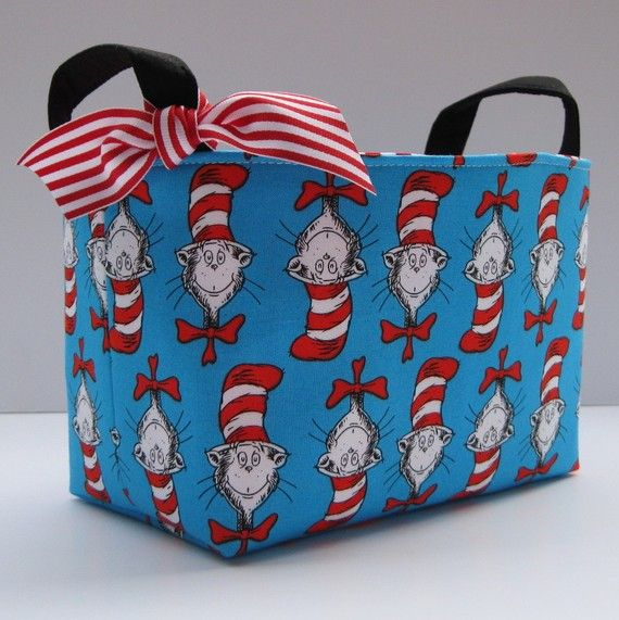 Storage and Organization - Fabric Organizer Container Bin Basket - Made with Dr. Seuss Cat in the Hat Heads Fabric on Etsy, $18.00