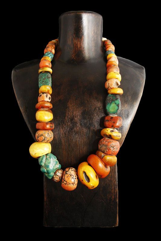 Antique Turquoise, Coral and Amber Necklace ~ Tibet:
