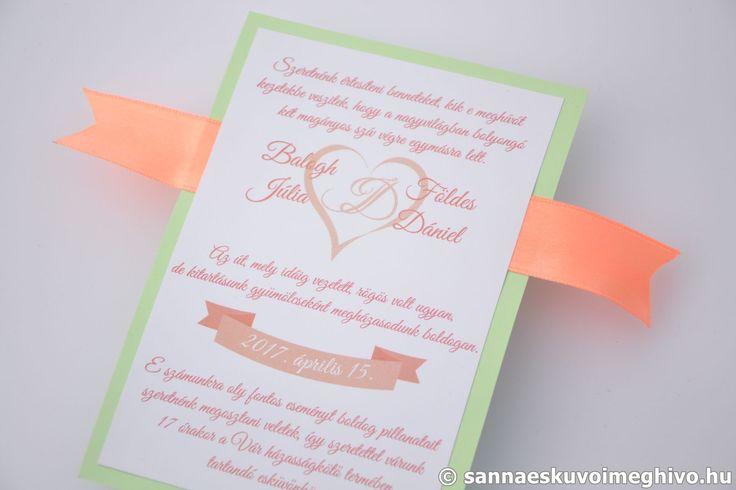 Párizsi szerelem esküvői meghívó, meghívó, zöld esküvői meghívó, barack esküvői meghívó, szalagos esküvői meghívó, sannaeskuvoimeghivo, egyedi esküvői meghívó, wedding card