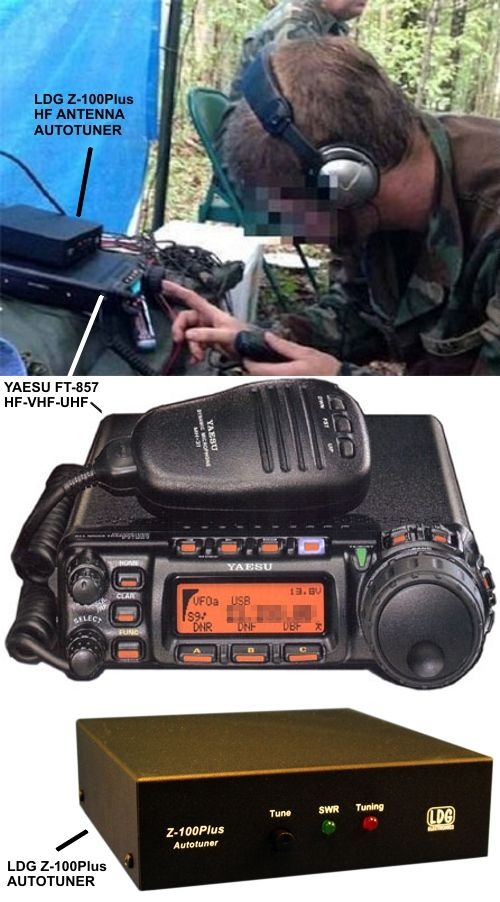 A southern militia radio operator in a field training exercise communicates using a Yaesu model FT-857 with LDG Z-100Plus antenna autotuner. The Yaesu is a 100 Watt radio capable of HF-VHF-UHF.