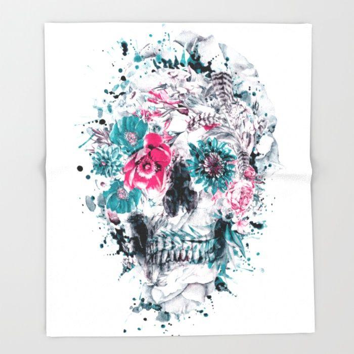 MOMENTO MORI IX Throw Blanket #skull #flowers #collage #abstract #colors #digitalart