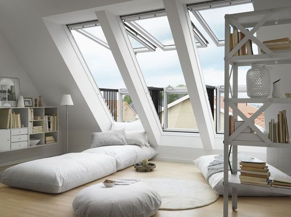 VELUX CABRIO roof windows: perfect for attics/bonus rooms to add light and a point of escape required by fire codes.