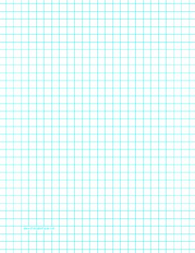 This letter-sized graph paper has three aqua blue lines every inch. Free to download and print