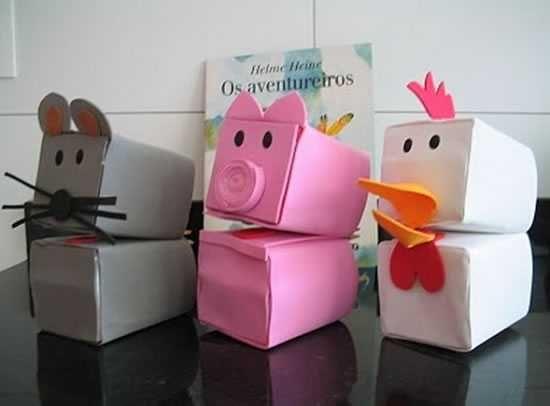 Brinquedos reciclados com caixa de leite