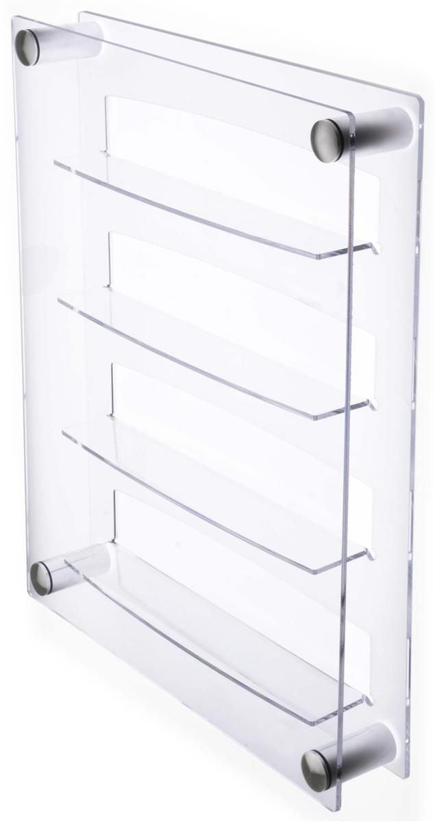 24 Shot Glass Display Case for Wall Mount, Side Loading, Clear Acrylic with