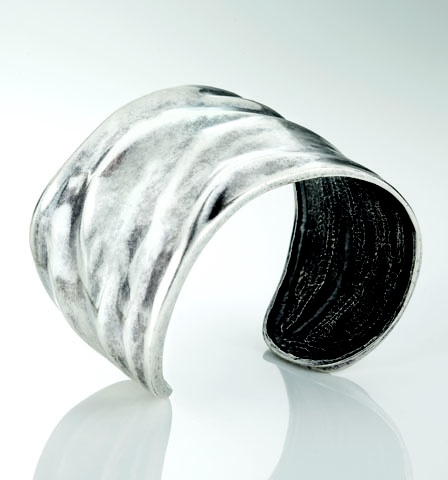 Our handcrafted burnished silver cuff with organic ripple effect (B1077)