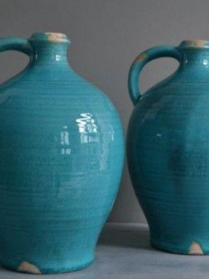 blauwe vaas