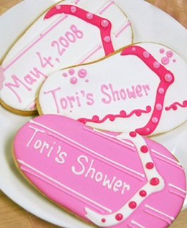 Cute idea for a baby shower! Personalized cookies versus cake! :)