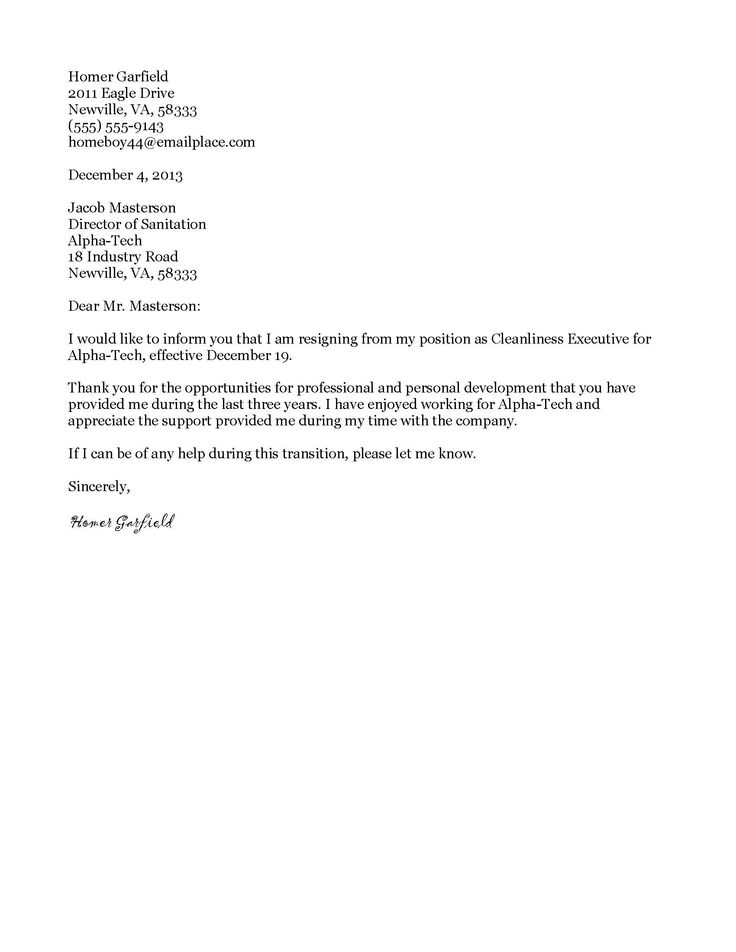 25 best ideas about Formal resignation letter sample – Resignation Letter Free