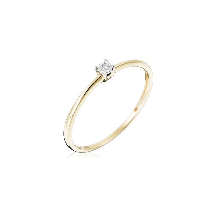"""BAGUE SOLITAIRE """"PURE"""" OR JAUNE DIAMANTS: 0,01CT/1 #LeDiamantaire #Diamant #Bague #Luxe"""