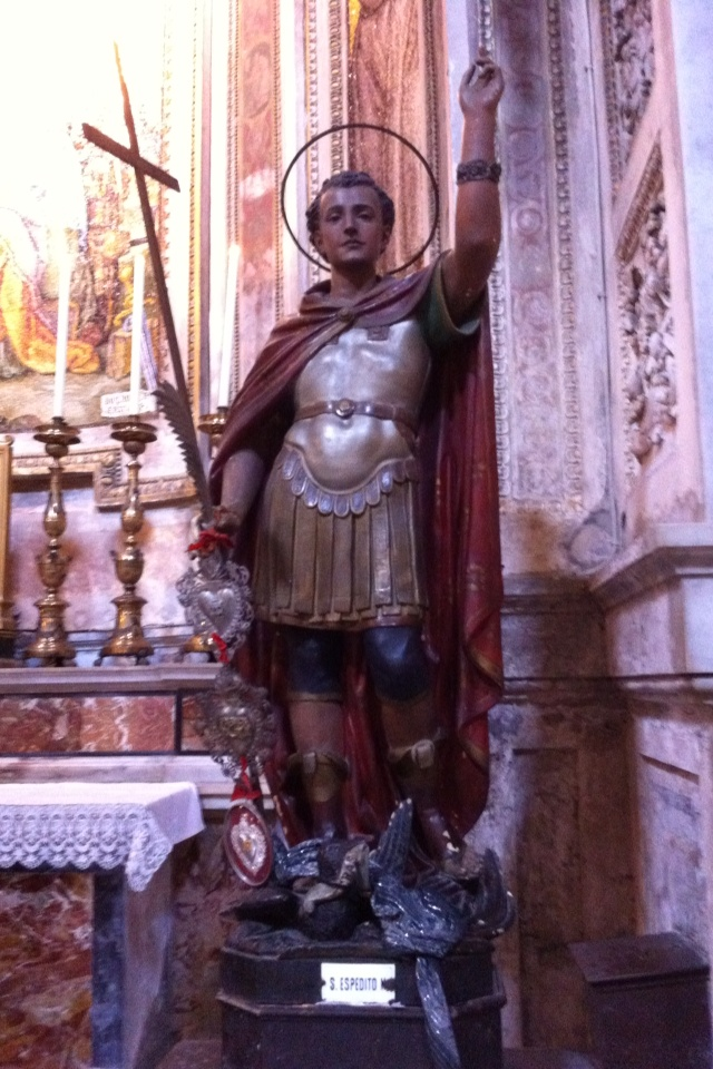 St Expedite - a Roman solider and is a Catholic saint who helps with anything in his power to help with.
