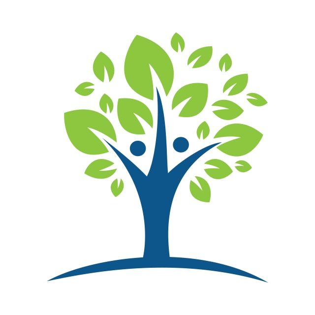 Human Character With Green Tree Logo Agency Beautiful Blue Png And Vector With Transparent Background For Free Download Tree Logos Tree Drawing Nature Symbols
