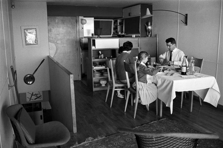 """Rene Burri  Marseille.  Le Corbusier's """"Unité d'habitation"""" (""""Living unit""""): the """"Cité radieuse"""" (1945-1952)."""