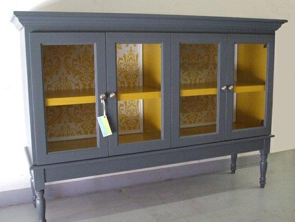 Fun Color Idea For Inside Cabinet
