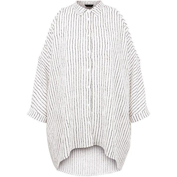 New Look White Pinstripe Dip Hem Cold Shoulder Shirt ($26) ❤ liked on Polyvore featuring tops, white pattern, open shoulder shirt, shirt tops, white top, summer shirts and pattern shirts