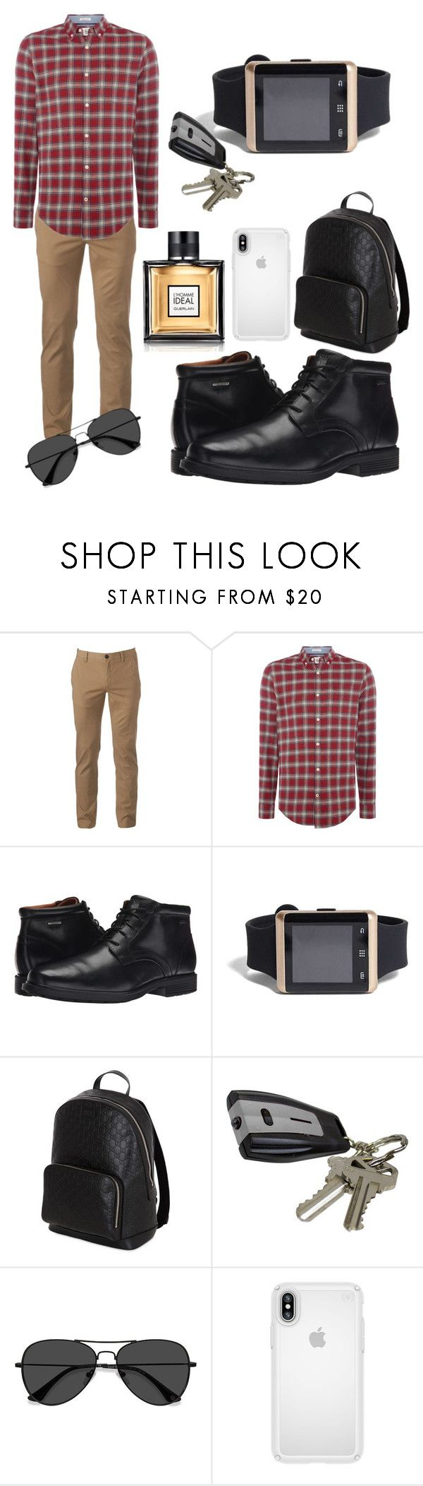 """Male Look"" by jeshaun on Polyvore featuring Urban Pipeline, Original Penguin, Rockport, 21 Men, Gucci, EyeBuyDirect.com, Speck, Guerlain, men's fashion and menswear"