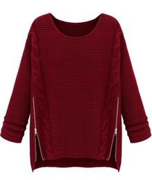 Wine Red Long Sleeve Side Zipper Cable Knit Sweater