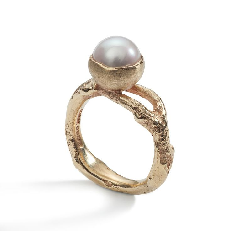 'Sense of Nature' solid Gold and Freshwater Pearl Ring, handmade using textures of an ash tree.