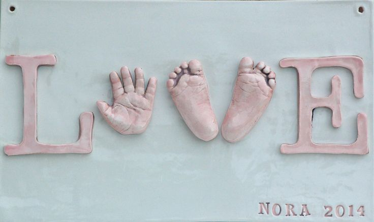 Pop out handprints of your baby to create LOVE sign...what cherished memories this will make! www.etsy.com/shop/Dprintsclayful www.facebook.com/clayfulimpress www.clayfulimpressions.blogspot.com www.Dprintsclayful.com