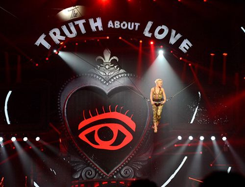 Pink's new show features a big, red prominent All-Seeing Eye during a big part of it. Why? Because. It has to be everywhere.