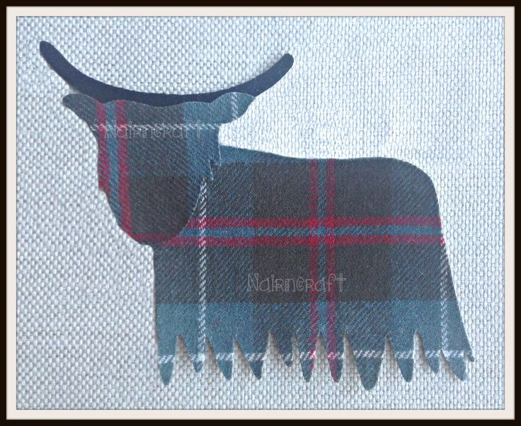 1 x 5 in cc2.Highland Coo/Cow, Blue Grey Scottish Tartan Wool Fabric ,Cut Out, Iron On, Appliqué Style  2 by Nairncraft on Etsy
