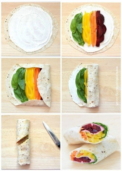 Step by step healthy rainbow wrap recipe - gorgeous rainbow food idea, perfect for kids lunches, bento boxes and picnics too!