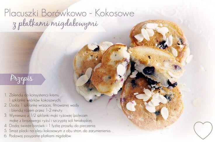 Pyszne śniadaniowe placuszki dla Alergika z borówkami, kokosami i migdałami