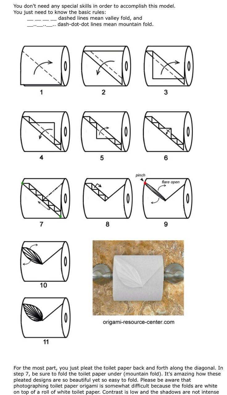 Toilet paper oragami. Leaf fold with instructions.