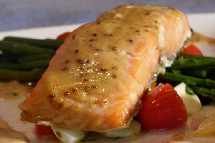 Filet de saumon au miel et à la moutarde de dijon